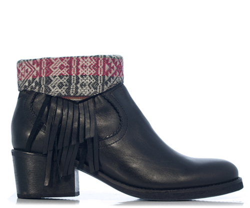 Fortress of Inca - Handmade in Peru - Lila Rose Fringe Boot Black