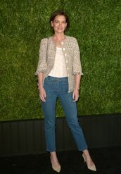 jacket,jeans,katie holmes,pumps,denim,spring outfits