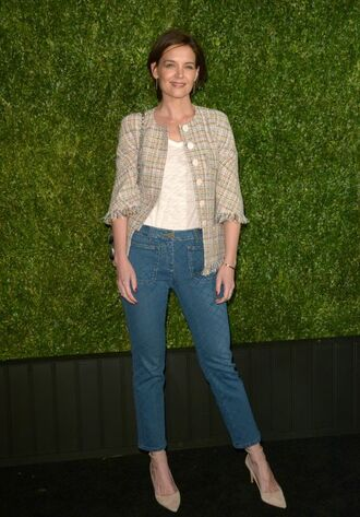 jacket jeans katie holmes pumps denim spring outfits