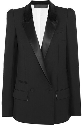 blazer black wool velvet satin jacket