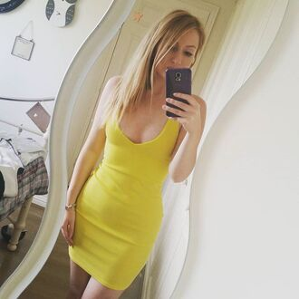 dress yellow dress boohoo dress bodycon dress yellow bodycon dress evening dress party dress