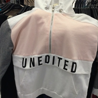 jacket baby pink white grey pastel zip up jacket words on sweater cute hoodie