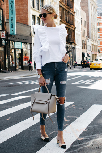 fashionjackson blogger top jeans shoes bag sunglasses jewels handbag slingbacks white blouse fall outfits