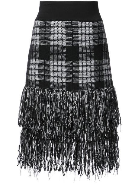 Balmain skirt tartan skirt women mohair black wool tartan