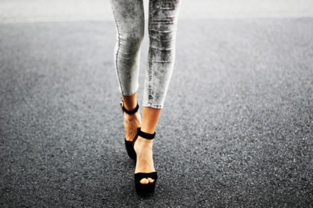 jeans heels black dark grey and black