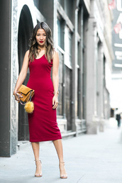wendy's lookbook,blogger,dress,shoes,bag,red dress,midi dress,bodycon dress,sexy dress,party dress,date outfit,date dress,party outfits,red lipstick,chloe faye bag,yellow bag,suede bag,keychain,fur keychain,sandals,sandal heels,high heel sandals,bag accessories
