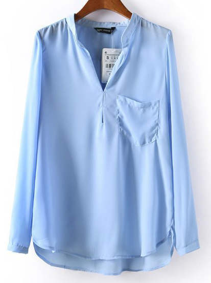 Blue Stand Collar Long Sleeve Pocket Blouse - Sheinside.com