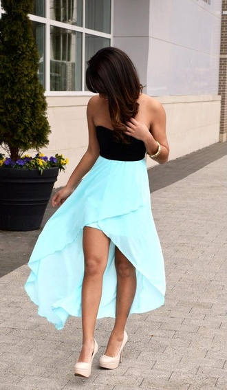 dress shoes jacket clothes prom dress black blue hi blue dress cute dress high low high low dress tiffany blue crop tops black top light blue blouse hi-low dress summer dress strapless dress high-low dresses blue skirt pretty flowy dress high heels blue bottom