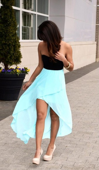 dress love blue dress cute dress high low dresses shoes also the nude heels clothes prom dress black blue hi low hi low dresses blue black dress high low long cut summerdress dress, blue, black baby blue hi low dress with black top