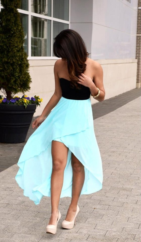 dress clothes shoes prom dress black blue hi light blue high-low dresses high heels blue skirt strapless dress pretty flowy dress high low blue dress black top high low dress cute dress hi-low dress summer dress blue bottom tiffany blue crop tops super cute dress skirt