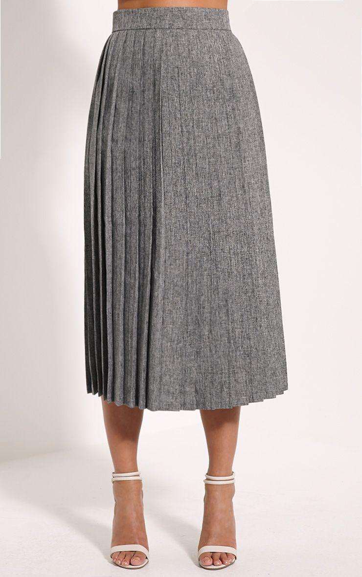 Leannah Grey Pleated Midi Skirt