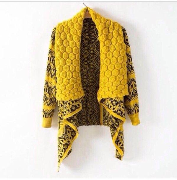 Sweater: yellow black cardigan - Wheretoget