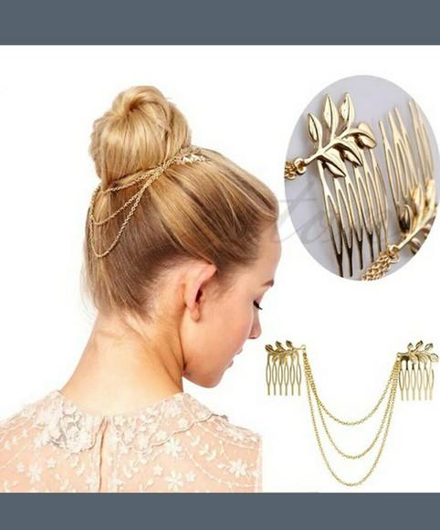 golden hair accessories bun blonde hair leaf headband chains on back