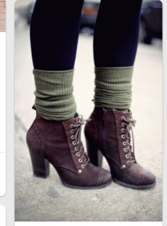 shoes combat boots ankle boots brown combat boots fashion boots tumblr outfit style heels medium heels socks winter boots