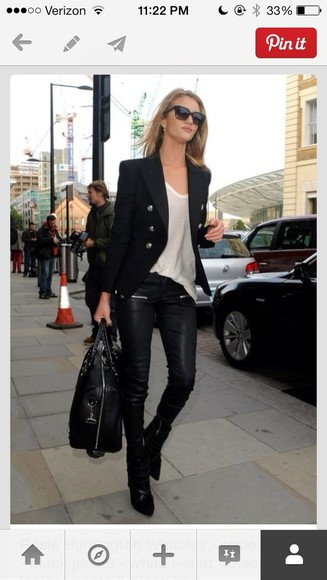 rosie huntington-whitley model coat leather pants blouse