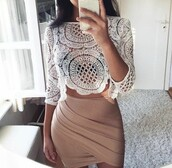 skirt,crop tops,sexy dress,white lace top,iphone case,white blouse,tan,nude,blouse,tumblr,top,lace,white,beige,shirt,summer,beautiful,sexy,summer outfits,spring outfits,bandage skirt,white lace,white top,white dress,two piece dress set,two-piece,crochet,crochet top,crochet dress,party dress,sexy party dresses,party outfits,sexy outfit,summer dress,spring dress,classy dress,elegant dress,white lace dress,birthday dress,clubwear,club dress,homecoming,homecoming dress,wedding clothes,wedding guest,engagement party dress,prom,prom dress,short prom dress,white prom dress,graduation dress,dress