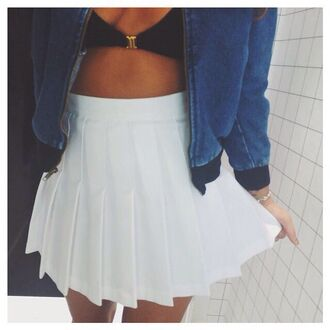jacket white tennis skirt white skirt tennis skirt tennis high waisted skirt white high waisted skirt white high waisted jean jackets denim jacket black top black white bikini top crop tops bustier crop top oversized oversized jean jacket denim denim denim jacket vintage coat bomber jacket