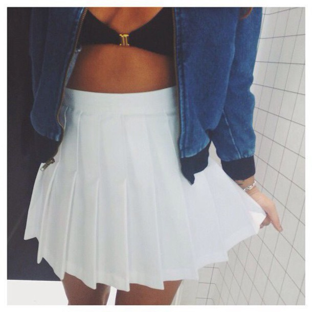 Jacket: white tennis skirt, white skirt, tennis skirt ...