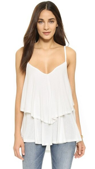 top ruffle white
