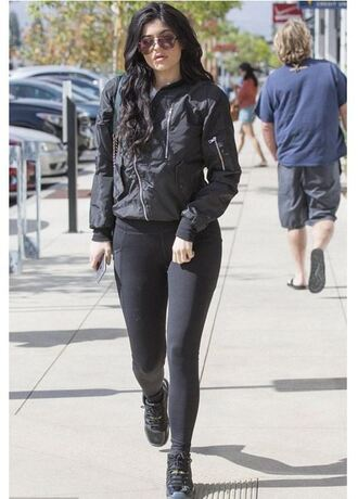 shoes all black everything streetstyle leggings jacket kylie jenner kardashians