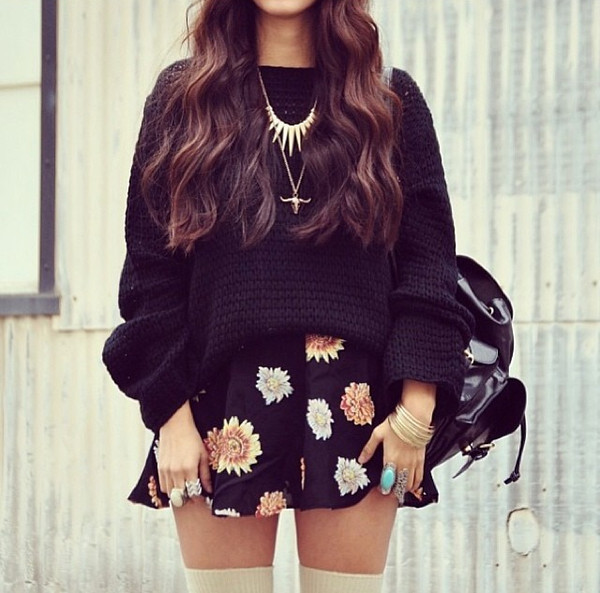 skirt sweater floral dress knee high socks black sweater jumper black cozy cardigan winter cosy
