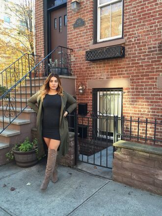 nadia aboulhosn curvy blogger plus size dress duster coat plus size mini dress black dress green coat boots nude boots over the knee boots