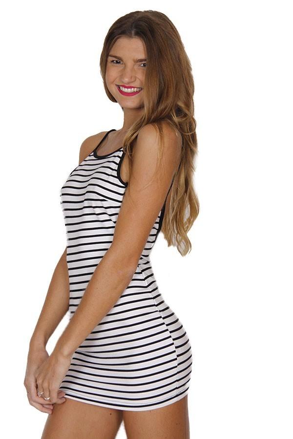 Black and White Striped Bodycon Mini Dress