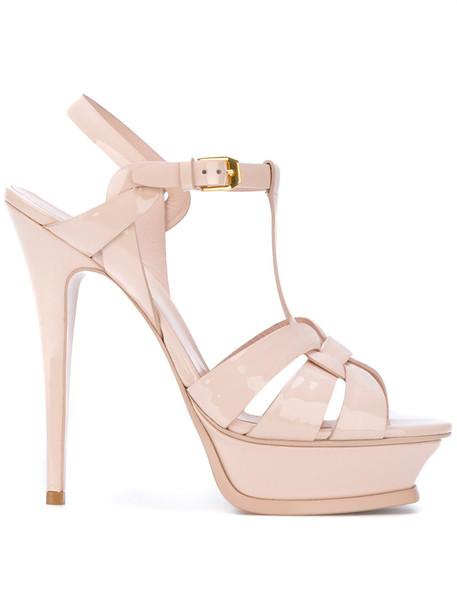 Saint Laurent women sandals leather nude shoes