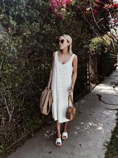 damsel in dior,blogger,dress,shoes,bag,sunglasses,sweater,jacket,round bag,white dress,midi dress,sandals