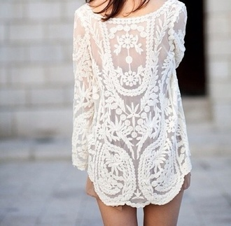 dress white summer pattern flowers girly beautiful ebonylace-streetfashion ebonylace.storenvy lace class classy shirt long sleeves white dress sheer mesh kaftan summer dress summer outfits short dress short blouse crochet blinde blonde hair patterned dress cardigan