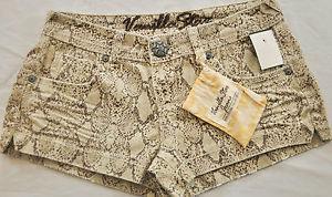 NWT Womens Vanilla Star Jeans Shorts Size Junior 7 Beige Snakeskin Short Short | eBay