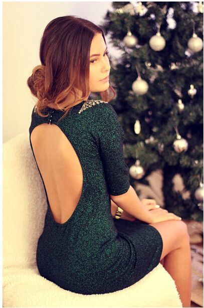 Cute hot green rhinestone shining dress
