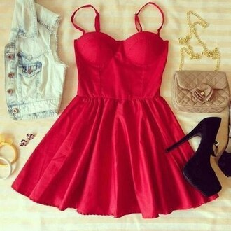 red dress quilted bag short dress denim vest acid wash outfit idea pumps black heels red denim jacket dress