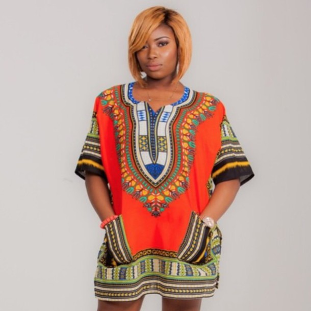 f4fa6d9f New African Dashiki Shirt,Unisex,blouse,women, Orange,One size, fits up to  XXL