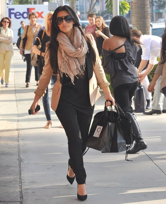 jacket kim kardashian pink black pretty scarf shoes