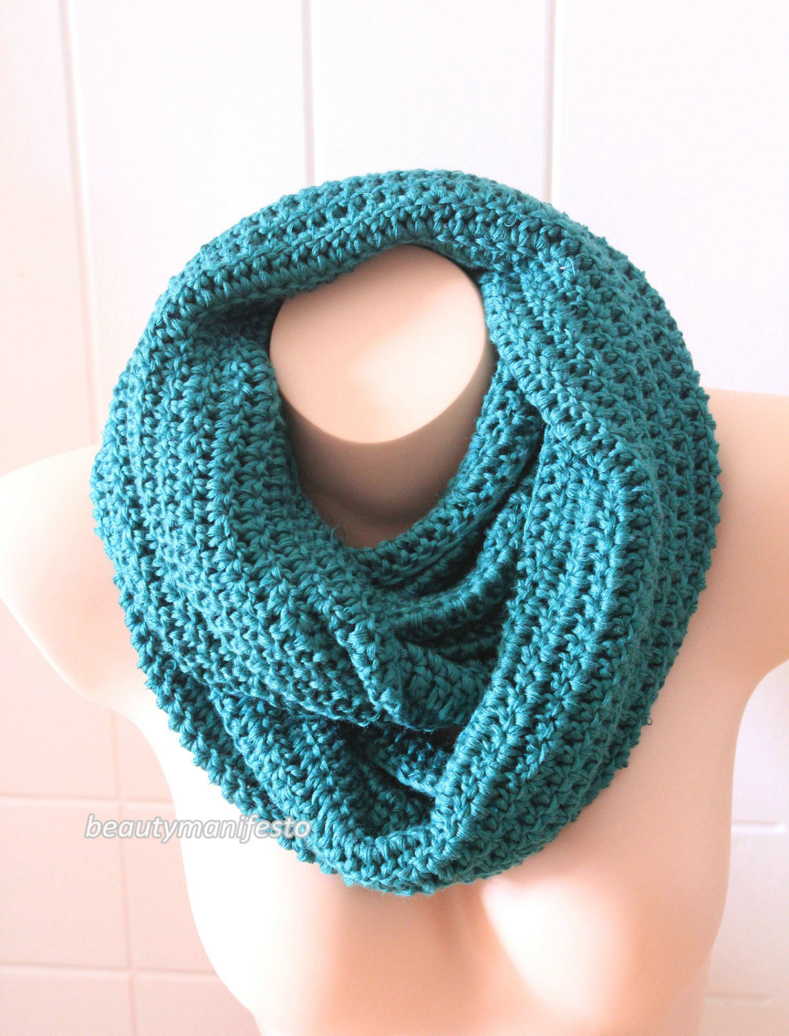 Oversized knit scarf,oversized chunky infinity scarf in Emerald ...