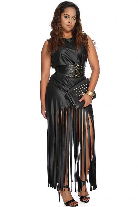 Black Faux Leather Fringe Plus Size Maxi Dress