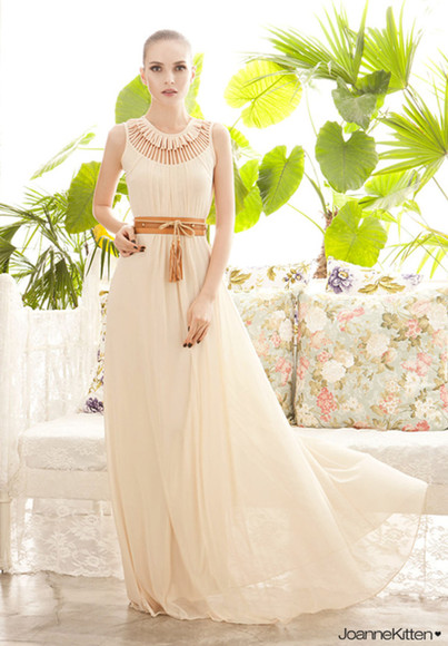 sleeveless floor-length necklace round sunglasses hollow dress sexy dress