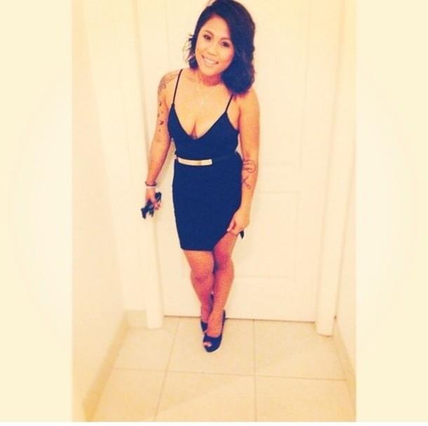 dress skirt black skirt top black top black dress gold belt
