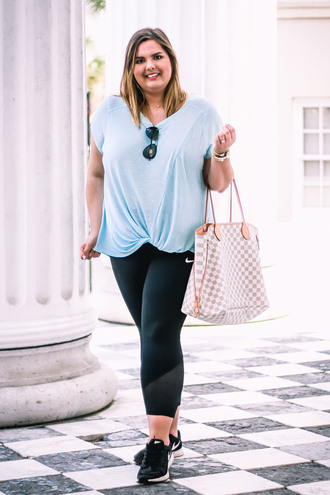 stylishsassy&classy blogger top leggings shoes sneakers plus size louis vuitton bag louis vuitton sportswear nike