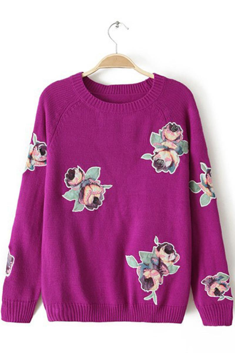 New Western Embroidery Roses Crewneck Sweater,Cheap in Wendybox.com