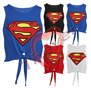 Womens Ladies Superman Superwoman Tie Front Viscose Jersey Crop Top Vest Tee | eBay