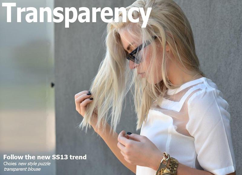 New style puzzle transparent blouse