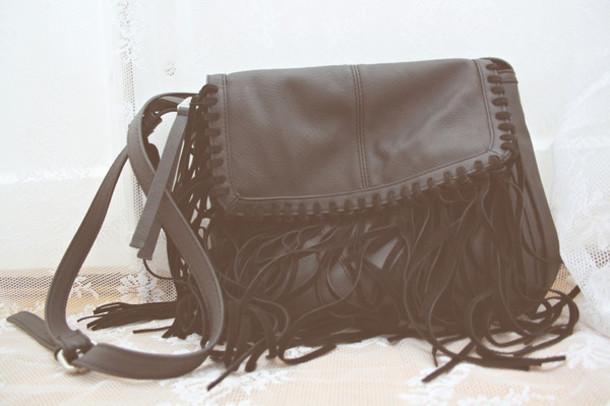 bag fringes fringed bag fringed bag black bag crossbody bag shoulder bag leather bag leather fringe bag ethnic bag native bag
