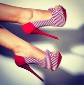 shoes,high heels,stripes,red and white,stripped,cute,open toes