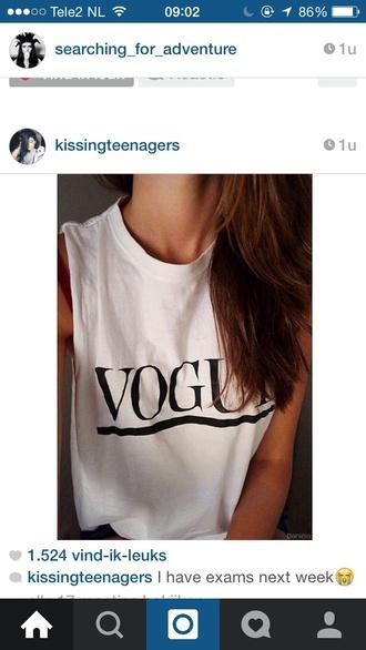 top white top vogue shirt vogue fashion black writing shirt