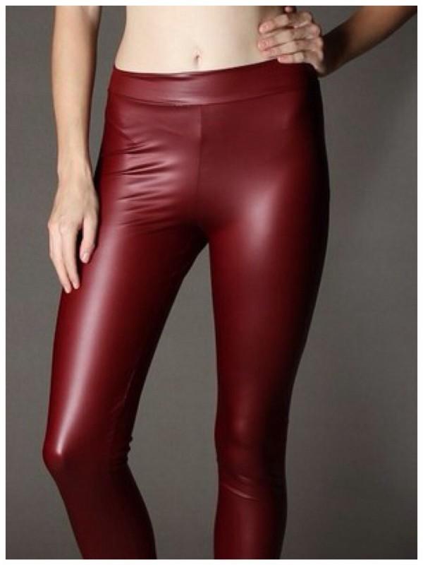 pants burgundy leggings leather leggings