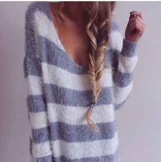 sweater comfy fluffy lazy stripes comfysweater comfy tops fuzzy sweater lazy day lazy wear cute sweater striped sweater