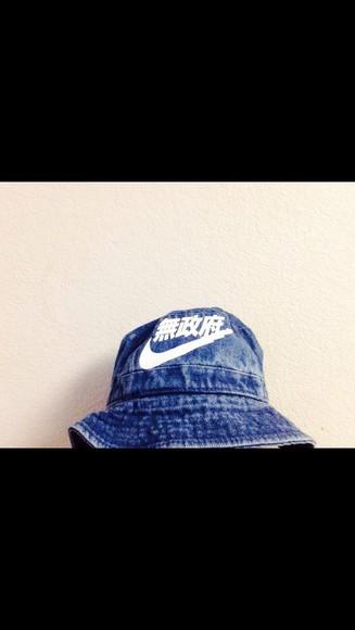 hat jeans bucket hat blue