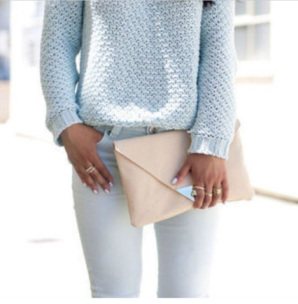 jeans bag sweater baby blue perfecto